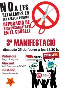 Manifestació 25 febrer 2012. Alacant, Castelló i València
