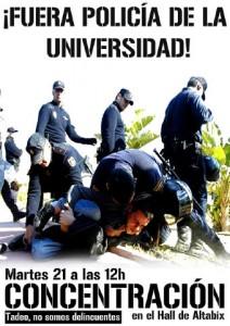 Fora policia de la Universitat!